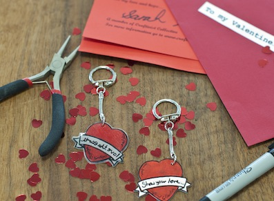Love is a verb so every year craftivists around the world make keyrings (designed by Tatty Devine) to include as gifts in their alternative valentines day cards encouraging people to show their love for their global neighbour through what they do, say, buy etc