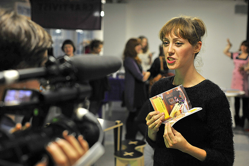 guest Jazz Domino Holly (craft author, columnist and Founder of Shoreditch Sisters) being filmed with our little book.