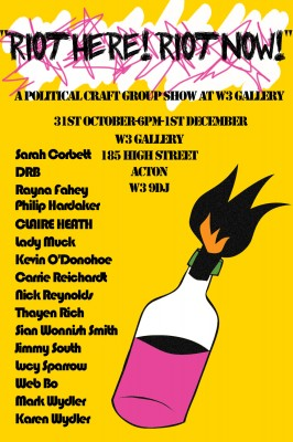 "Exhibition poster for ""Riot Here, Riot Now"" group show"