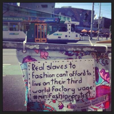 Mini Fashion Protest Banner in situ