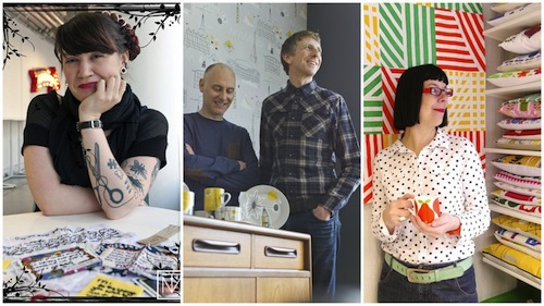 Left Sarah Corbett, Founder of Craftivist Collective, Keith Stephenson and Mark Hampshire - Creative Directors, Mini Moderns, right Jane Foster. Image courtesy of Crafty Fox.