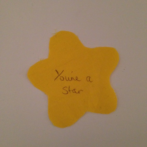 Step 2: write your message in biro onto your star shape