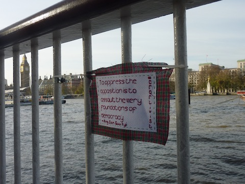 Natasha's mini protest banner in situ