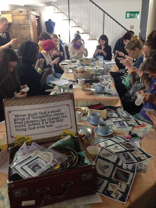 craftivist workshop of 20 people making Craftivist Footprints