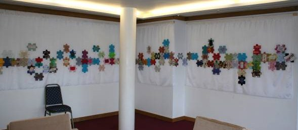 Unique way of displaying our jigsaws at Wolfson Collge- I love this design don't you?