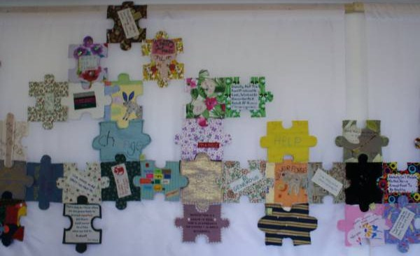Wolfson College craftivist jigsaw display