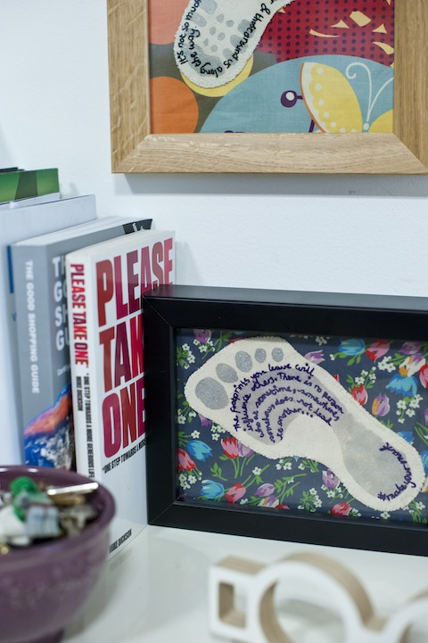Completed Craftivist Footprint and Shoe-print you can make at the workshop