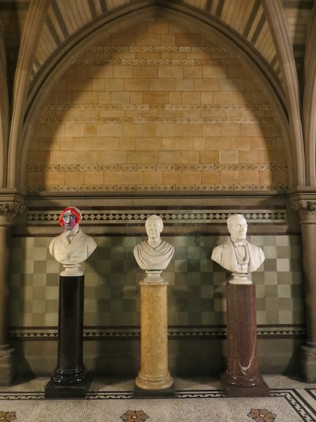 one mask in situ in Manchester Town Hall. All images by http://wearewarpandweft.wordpress.com