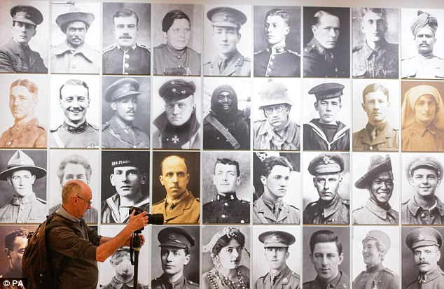 A montage of portraits of protagonists of WW1 which is part of 'The Great War in Portaits Exhibition