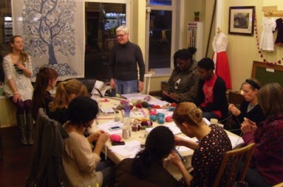 Inside the cosy Stag & Bow independent shop in Forest Hill. A lovely environment to craft and discuss craftivism don't you think?