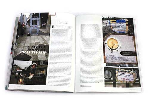 Look how pretty this double page spread looks to showcase our A Little Book of Craftivism!