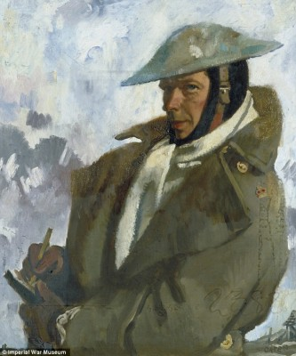 Self portrait by war artist Sir William Orphen as part of The Great War exhibition, National Portrait Gallery