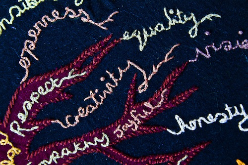 Some of the words I've stitched as principles to help me do effective craftivism and not harmful actions