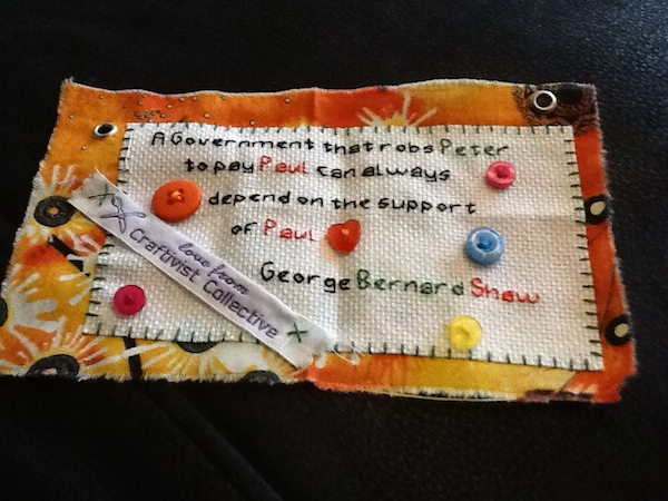 Maddys completed Mini Protest Banner ready to be hung up