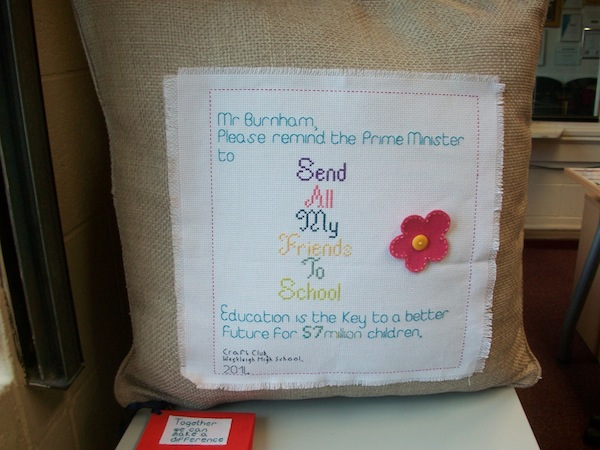 A cushion for their MP Andy Burham- that won't get lost underneath letters or emails will it?!