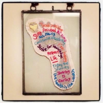 Jessica's stunning completed Craftivist Footprint!