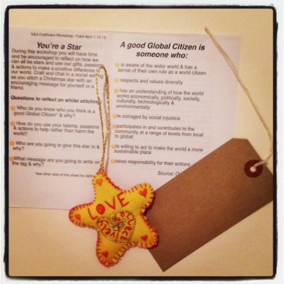Jessica's star she made at our December 2013 V&A workshop