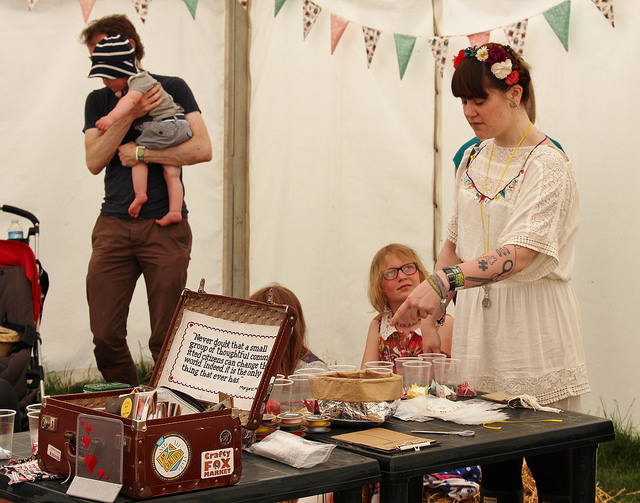 Our production line of resources at the craftvism kids session at Also Festival June 2014. Photo by Charlotte Pearson