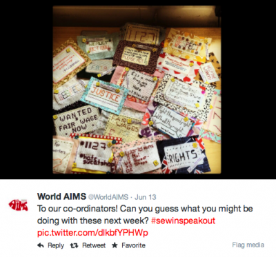 Tweets from participants on this craftivism project