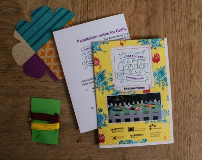 our Craftivists Garden #wellMAKING  kit includes, fabric flower (all unique), coloured thread, needles,  double-sided colour instructions sheet & facilitators sheet all in a little ziplock bag. Find it on Etsy