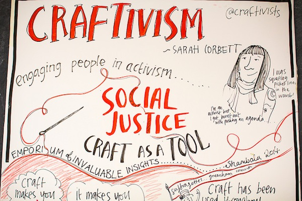 The top of the 'Visual Minutes' board summarising my craftivism talk