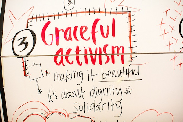 For the Craftivist Collective craftivism is about graceful activism: it's about beauty, not trying to save or help people but treating oppressed & vulnerable people with dignity, its about solidarity not charity...