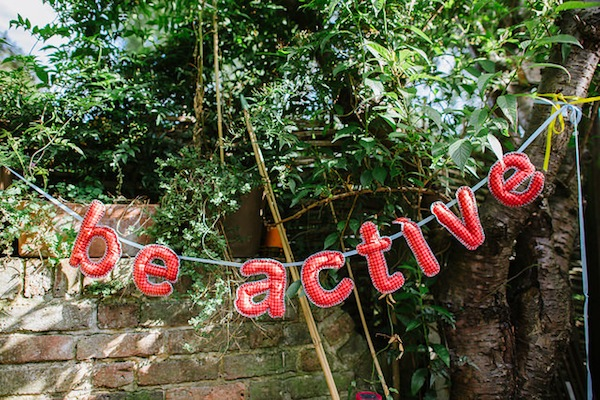 'Be Active' soft sculpture bunting photo by Tom Price
