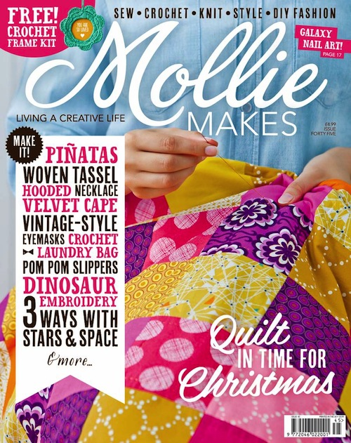 Cover of issue 45 or Mollie Makes which has a feature we are covered in.