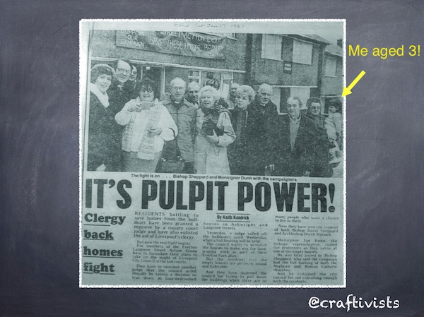 slide 1 of my powerpoint slides for TEDxBedford. A photo from our local newspaper in Liverpool - the Echo showing local people squatting in local housing to save them from demolition and winning!