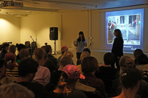 We went to Sweden!:) Here I am delivering an open lecture hosted by Hemslöjdens Förlag and Beckmans College of Design, Stockholm attended by approximately 90 people