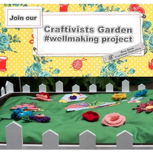 During July we launched our UK-wide #wellmaking Craftivists Garden project in collaboration with Falmouth University, Arts & Health, Voluntary Arts England and funded by AHRC (Arts Humanities Research Council) to go beyond seeing craft as a calming tool and actually seeing if it helps our critical thinking.
