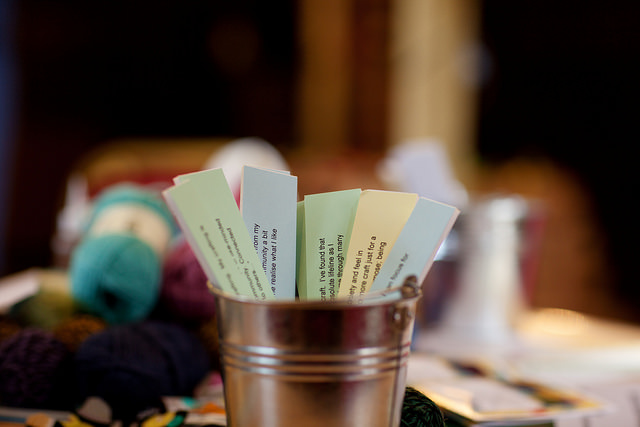 Each craft table had a garden bucket full of quotes from participants across the UK all explaining how they had used craft for critical thinking on the theme of wellbeing.