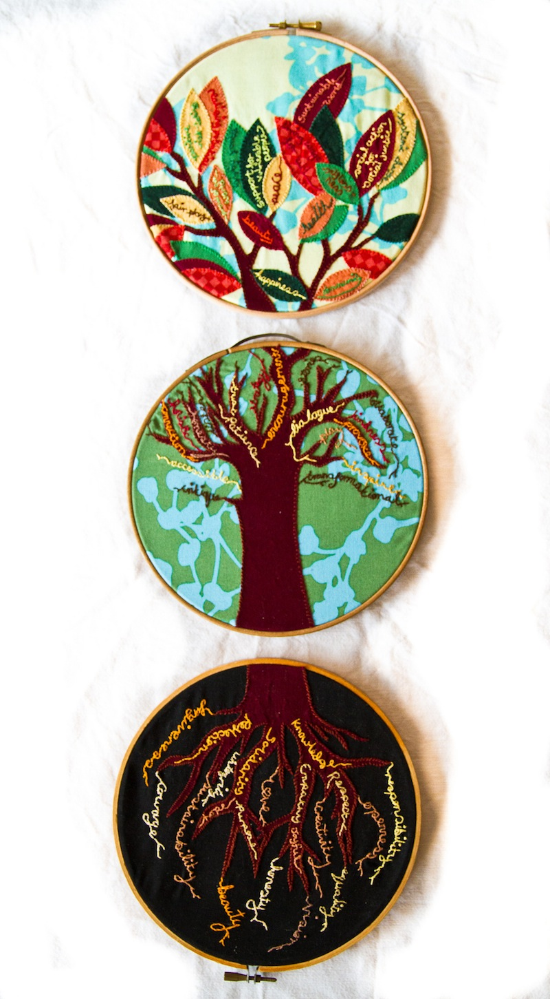 I embroidered this tree to help me think about whether my actions (branches) are rooted in my values (roots) & for me to focus on my vision for a flourishing world (leaves) and not lose sight of that