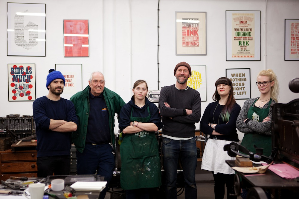 The letterpress Stitchable Change-makers team from right to left: Megan, Sarah, Nick, Ellen, veteran letterpress practitioner Dave, plus honorary member Tom Herbert (of 'The Fabulous Baker Brothers' TV Show who came to pick up his business cards hehe)