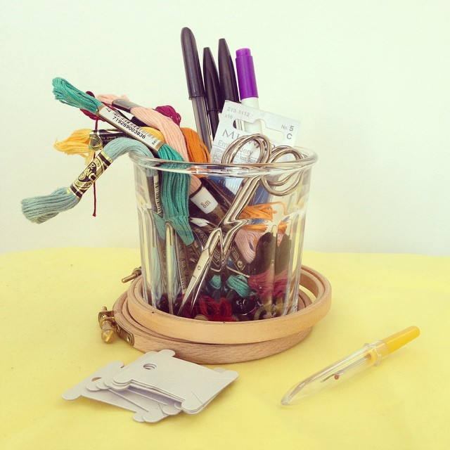 Image from our @craftivists Instagram gallery of one of 6 pots of craft resources for our last workshop - If you have anything similar you no longer use, we would love your donations