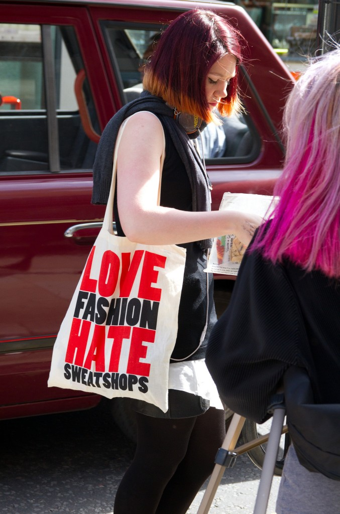love fashion hate sweatshops tote and sarah craftivist
