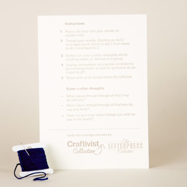 Craftivist Collective Stitchable Change-maker kit. Letterpress instructions sheet