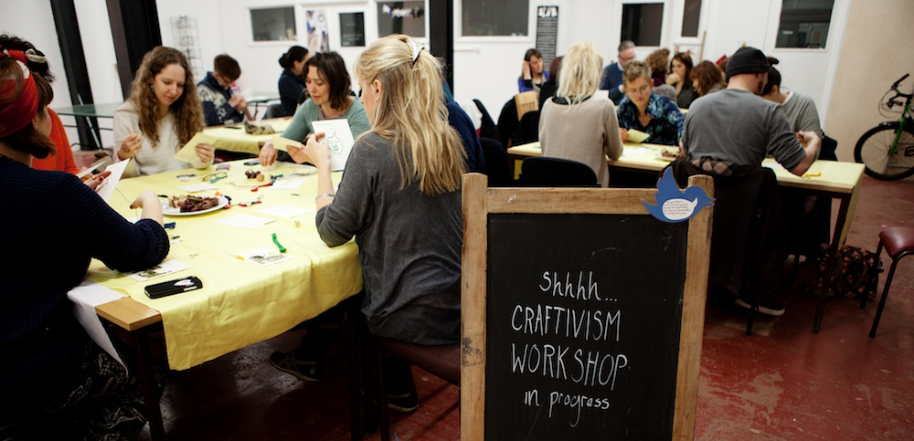 Bristol Stitchable Change-makers workshop in The Letterpress Collective studio