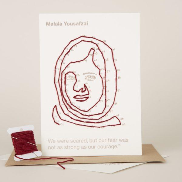 Craftivist Collective Stitchable Change-maker kit. Letterpress stitched portrait of Malala