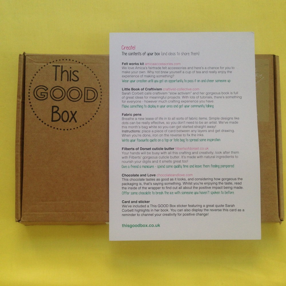 Each box comes with a sheet explaining the theme, content & story behind these ethical products.