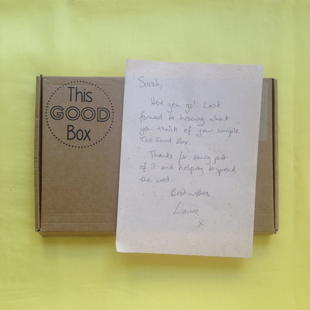 Lovely note in our sample box from Lianne, Founder of This Good Box :)