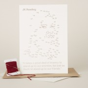 Craftivist Collective Stitchable Change-maker kit. Letterpress portrait of JK Rowling