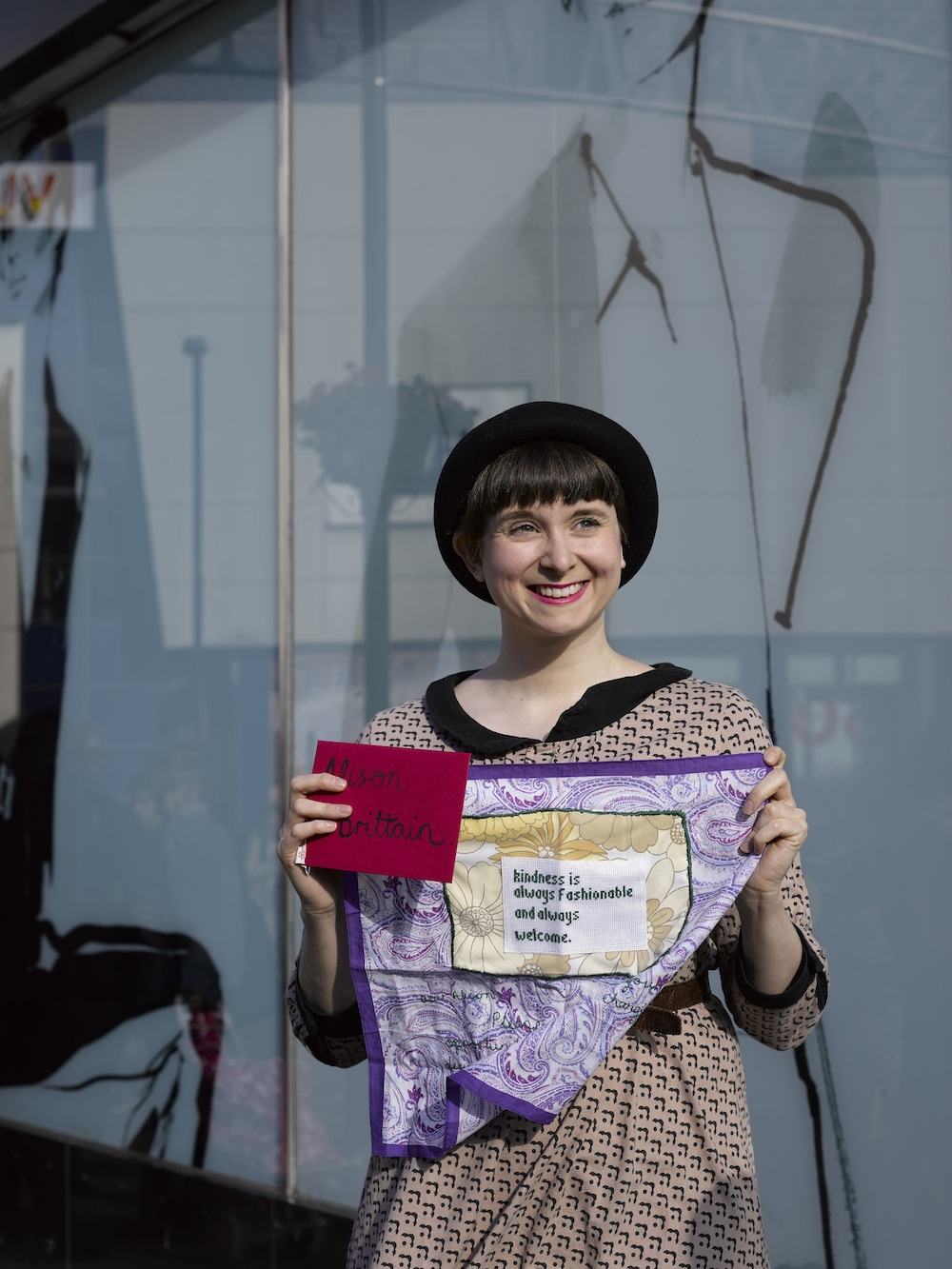 Gemma outside M&S Islington with her completed hanky for M&S Board Member Alison Brittain. Photo by Polly Braden