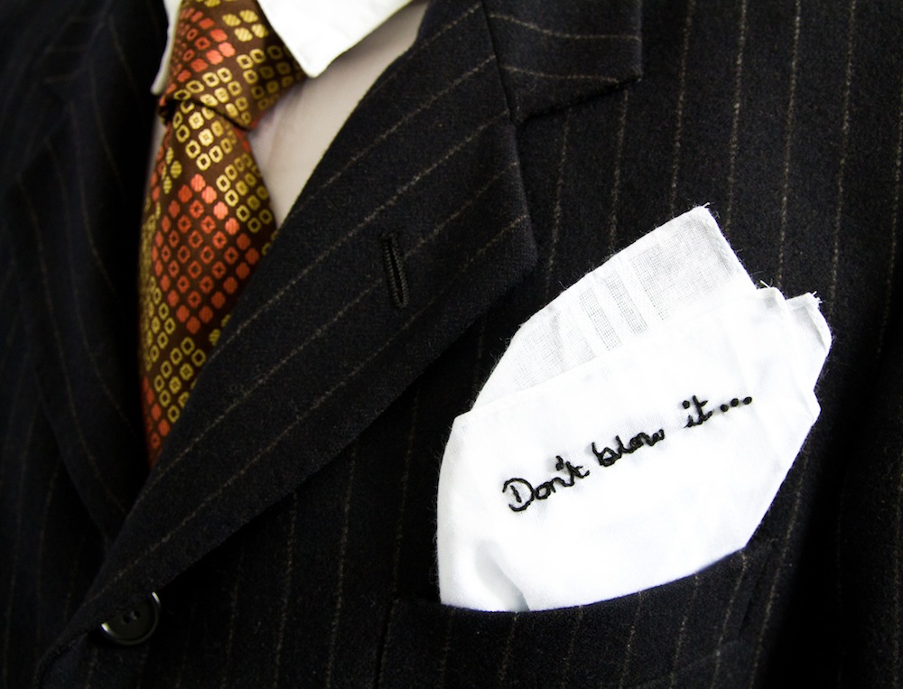 Don't Blow It craftivism handkerchief to give to a powerful person to help encourage them to use their power and influence for good