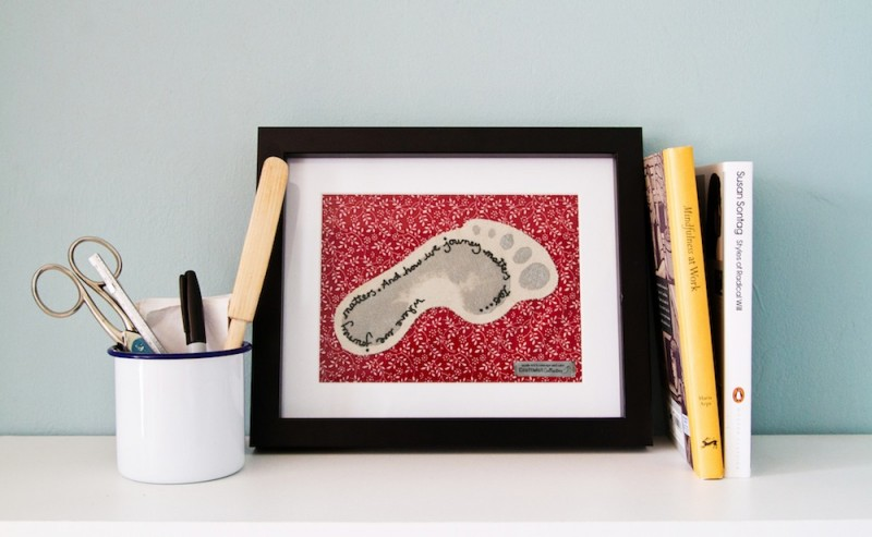 completed Craftivist Footprint to place somewhere as a physical reminder to make a positive impact on the world and focus on your journey as a good global citizen