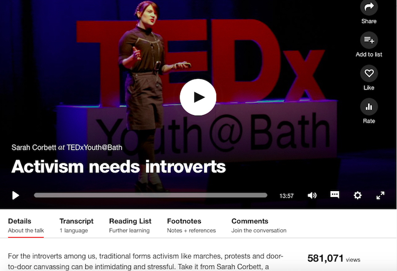 In November 2016 My TEDx talk was TED.com Talk Of The Day and has already received over half a million views, incredibly positive feedback and led to even more people and groups keen for support from me.