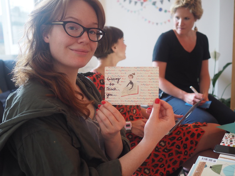 Craftivist Jess with her card made from mostly cutting up magazine illustrations :)