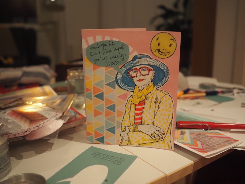 Make a card for CEO of M&S Steve Rowe to encourage him to become a Living Wage Employer. Stitch, collage, draw, be creative!:)