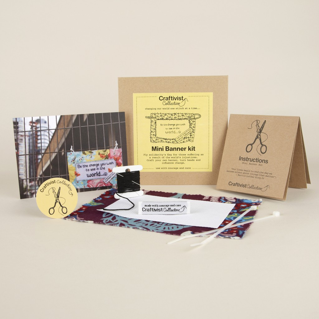 The Mini Banner ethically-made craftivism DIY kit sold at the Design Museum shop